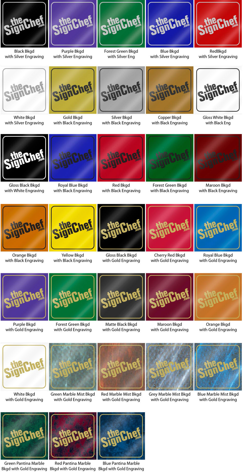 Engraved Metal Sign Color Options