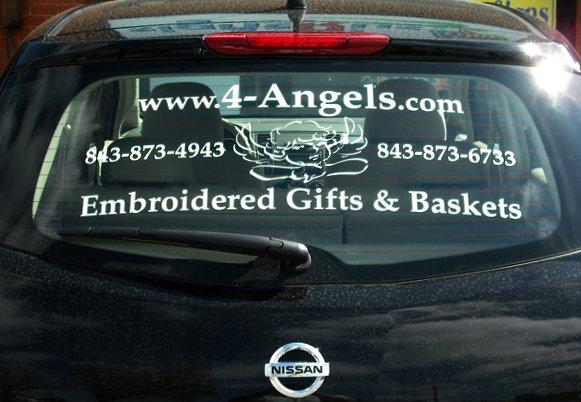 Vinyl lettering on vehicle window