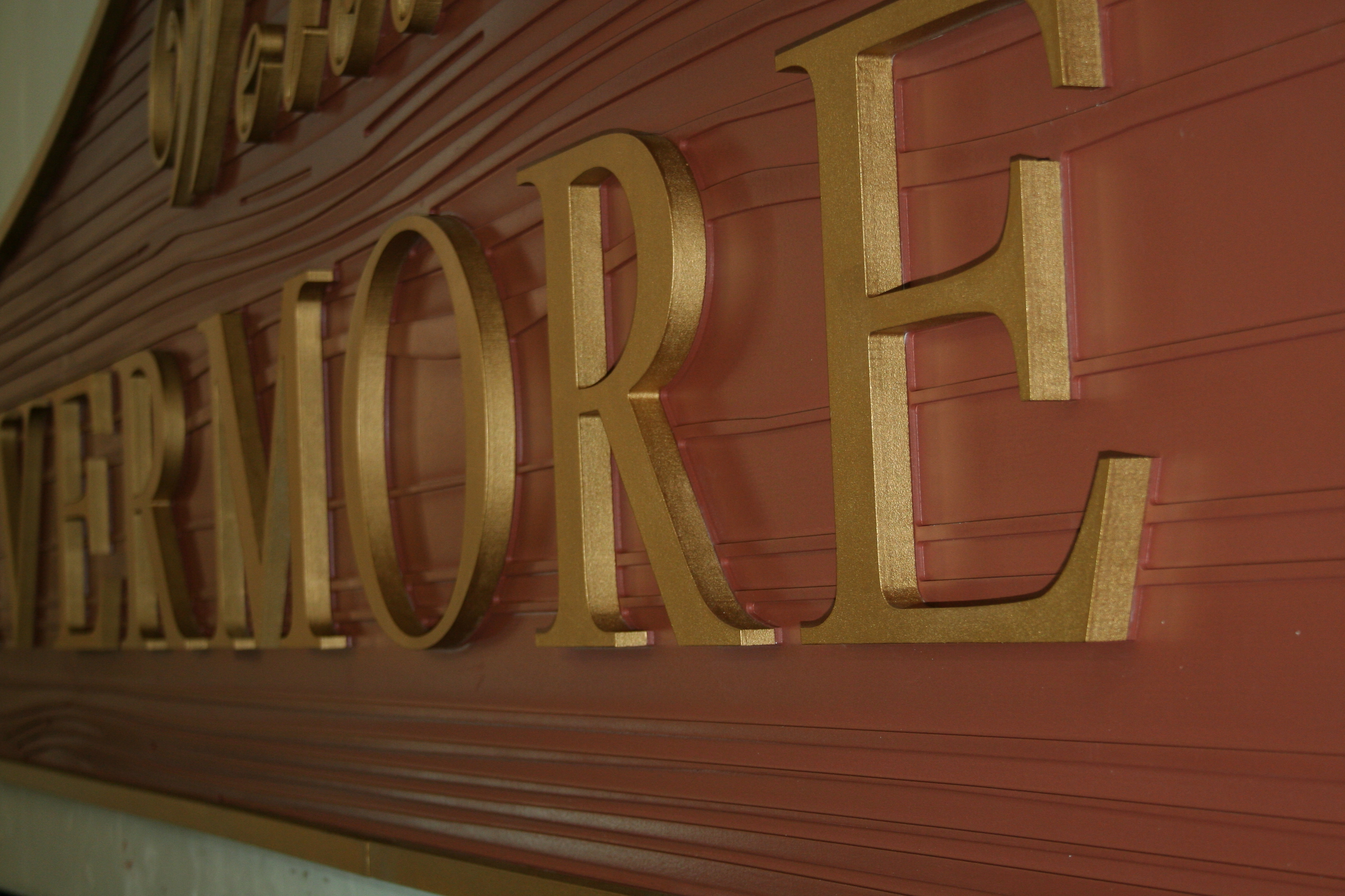 Wooden sign with custom painted 3-D letters