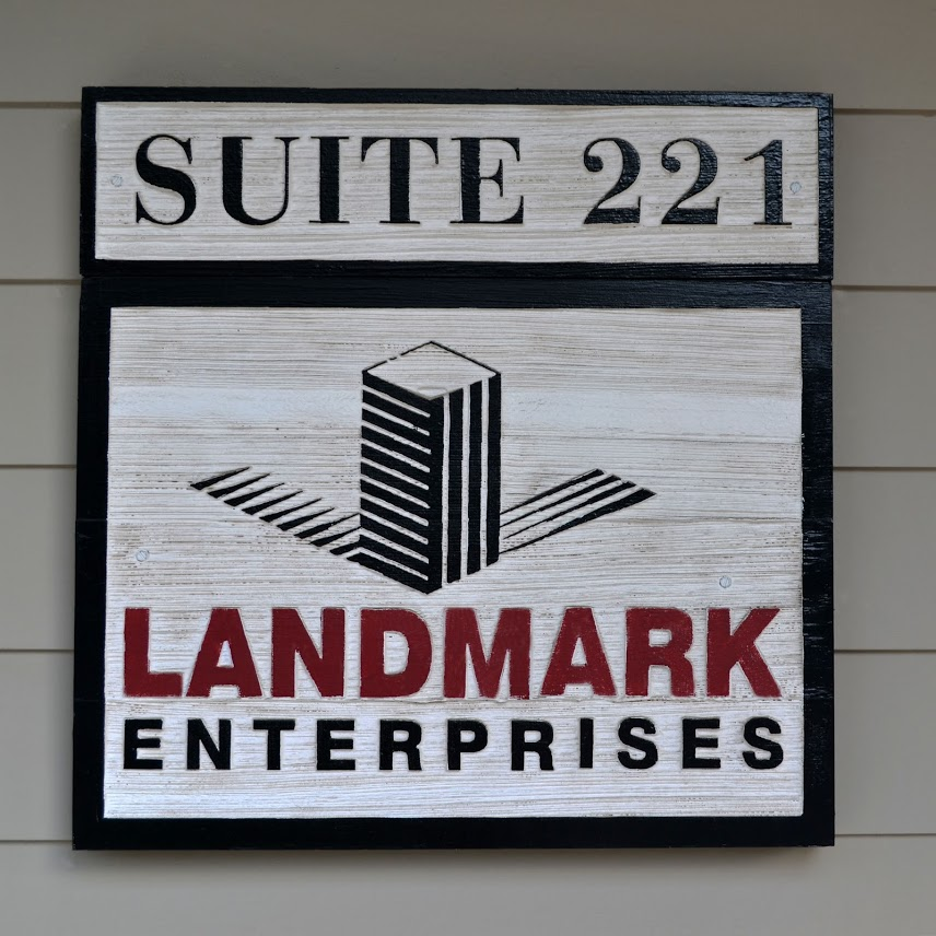 Example of an outdoor mounted wooden sign